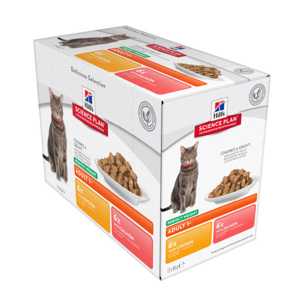 Hills Science Plan Feline Perfect Weight Chicken and Salmon Box 12 x 85g pouches (1)